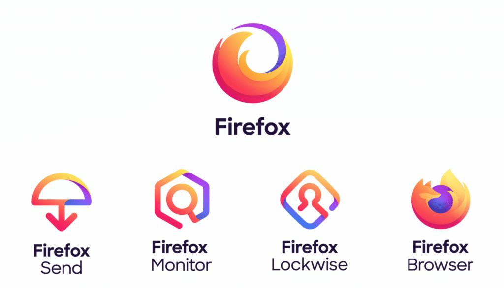 La famille de logo des services proposé par Firefox