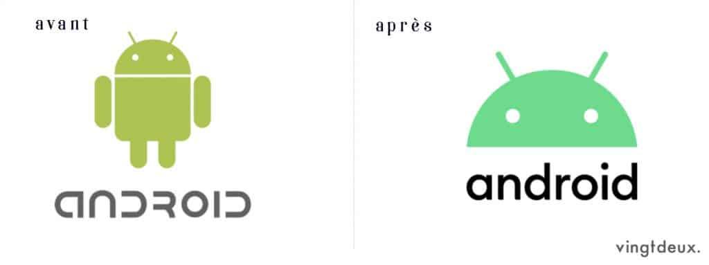Logos Android avant après