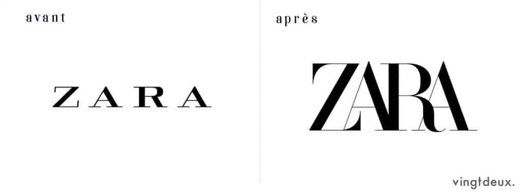 Logo Zara avant après