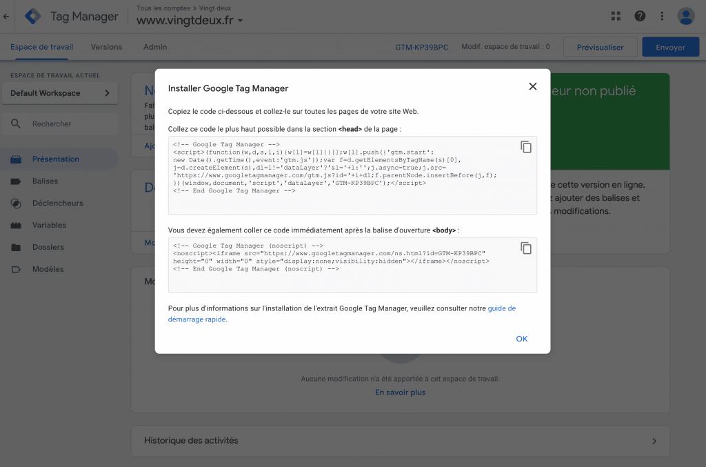 Installer Google Tag Manager