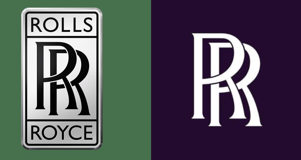 Ancien et nouveau logo Rolls Royce